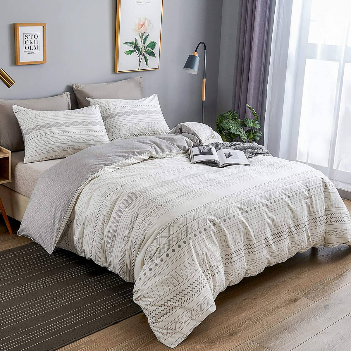 Warmdern Comfy Cotton Bed Cover in Bohemian Stripe