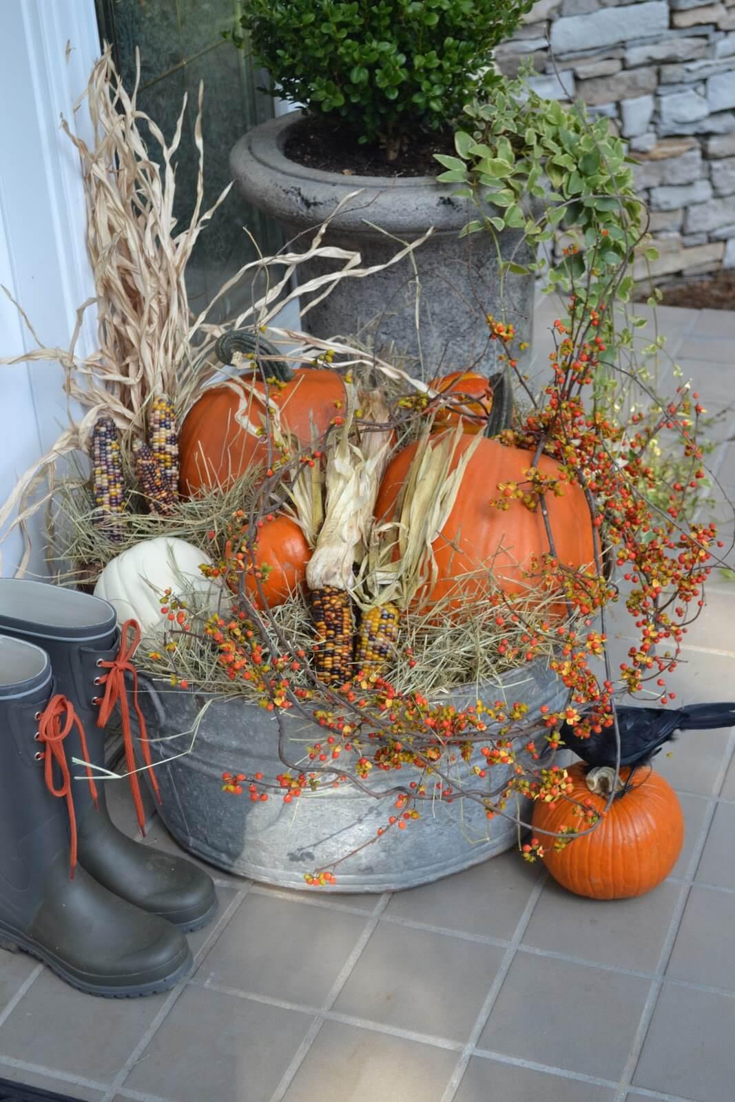 Fall Harvest Pumpkin and Corn Galvanized Tub