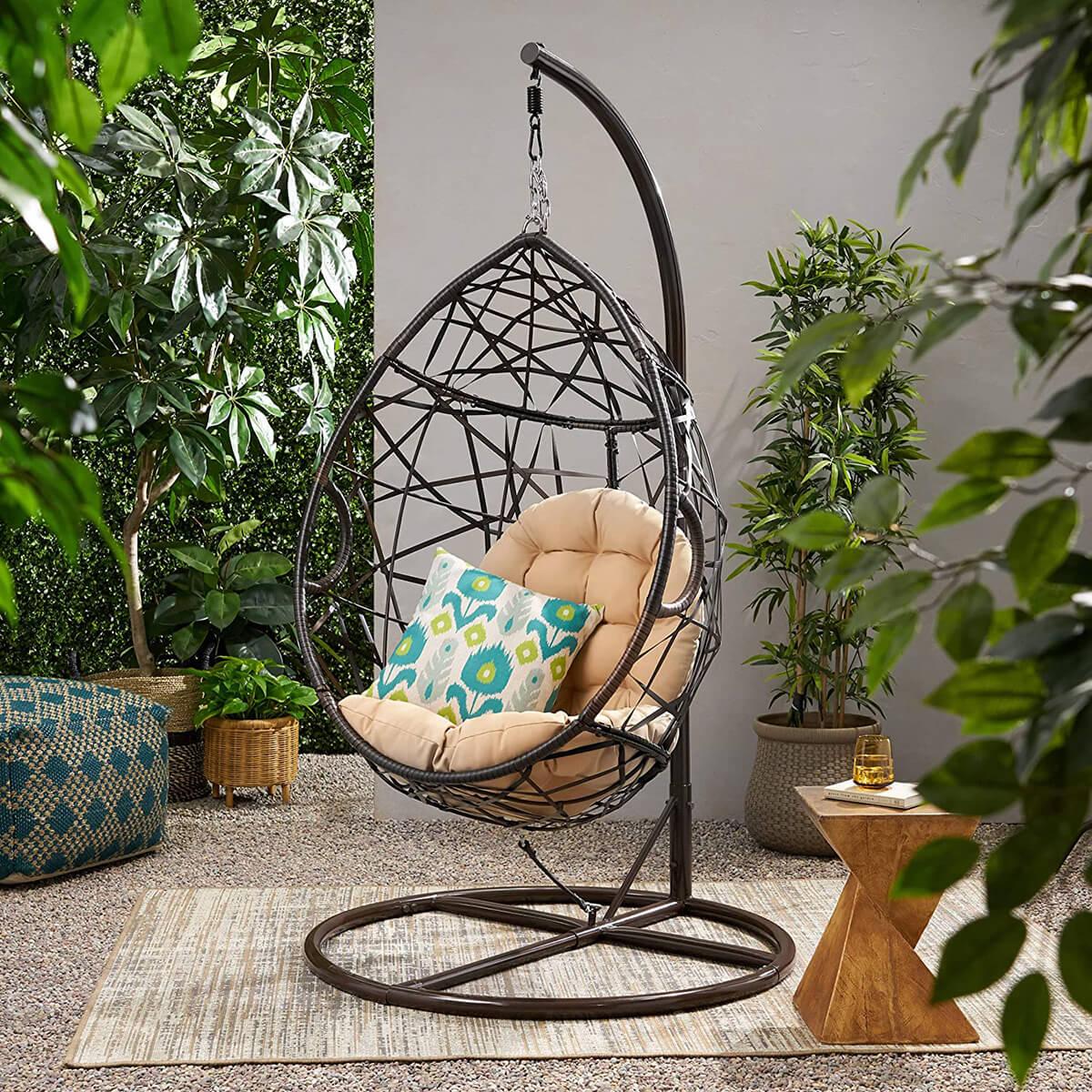 Isaiah Indoor/Outdoor Wicker Tear Drop Hanging Chair