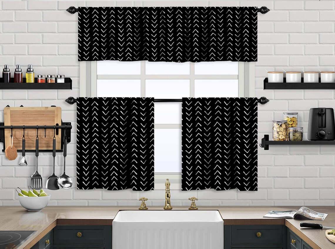 Black and White Kitchen Curtain Set