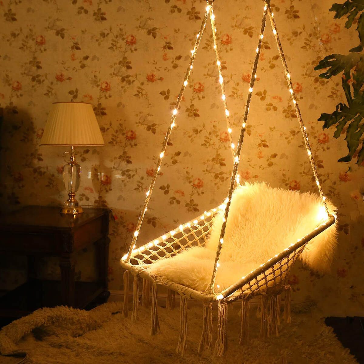 Hanging Hammock Chair with Lights