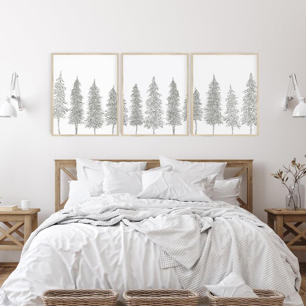 Pine Tree Line Scandinavian Winter Triptych