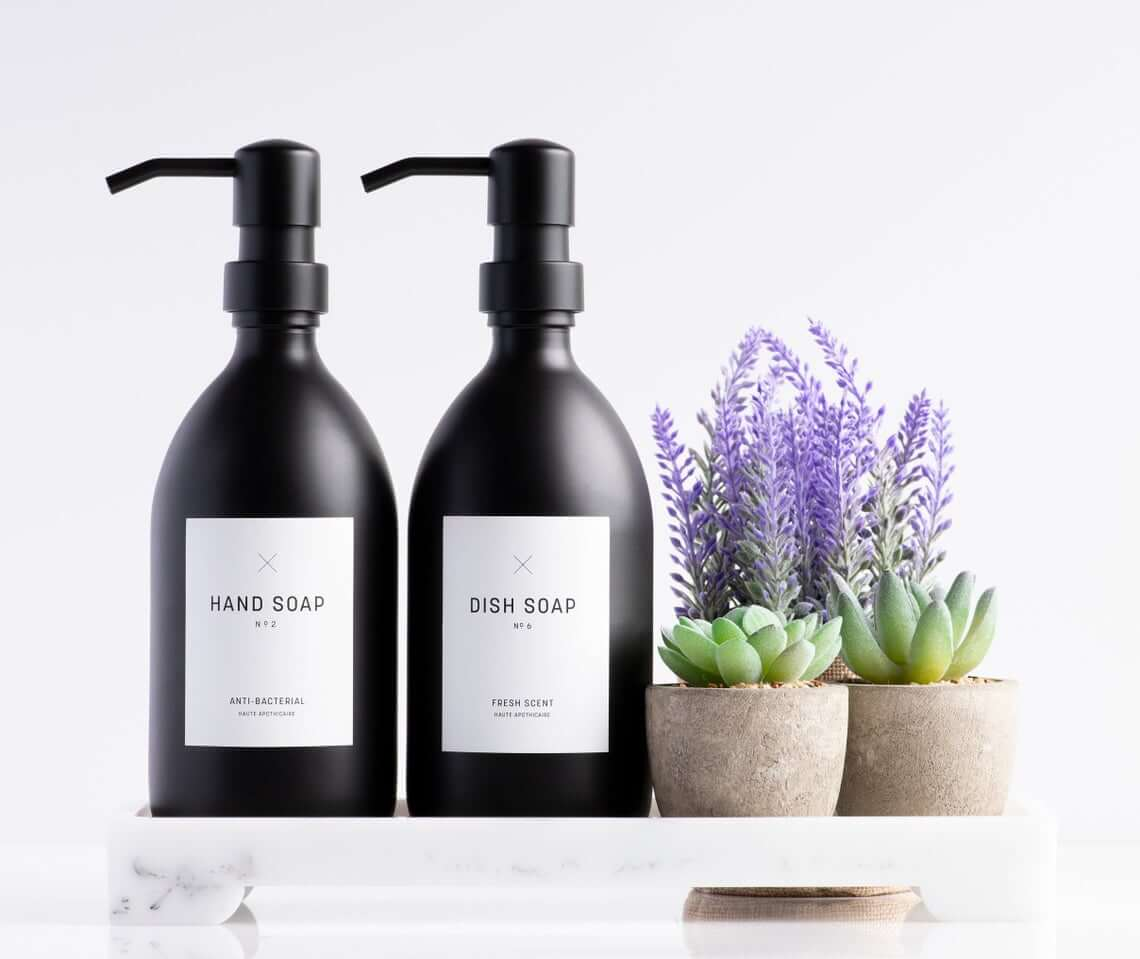 Matte Black Soap Dispensers with White Labels