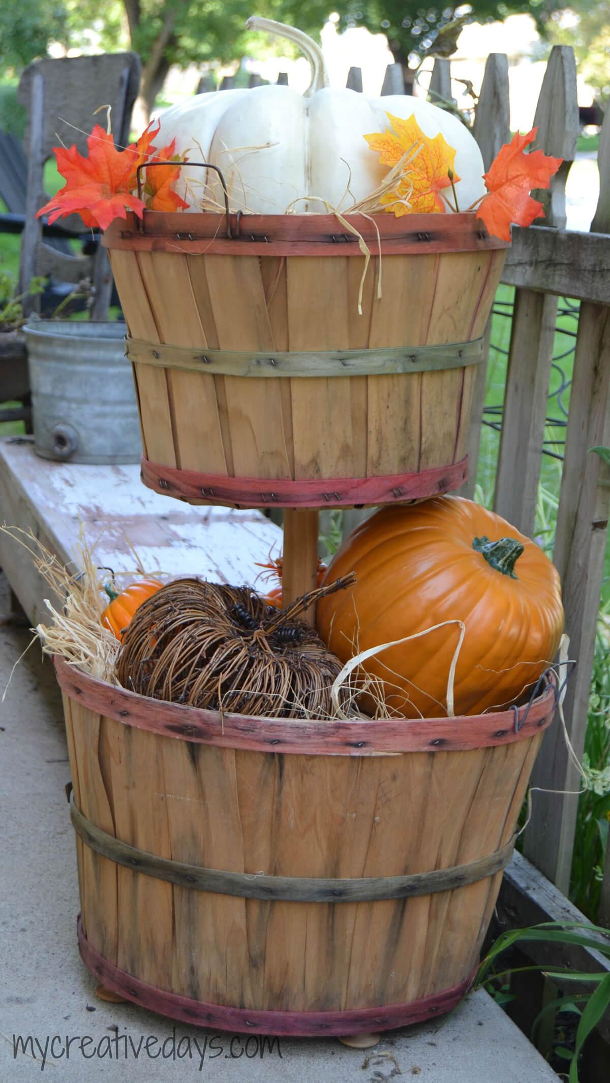 Fall Bushel Basket Tower of Pumpkins