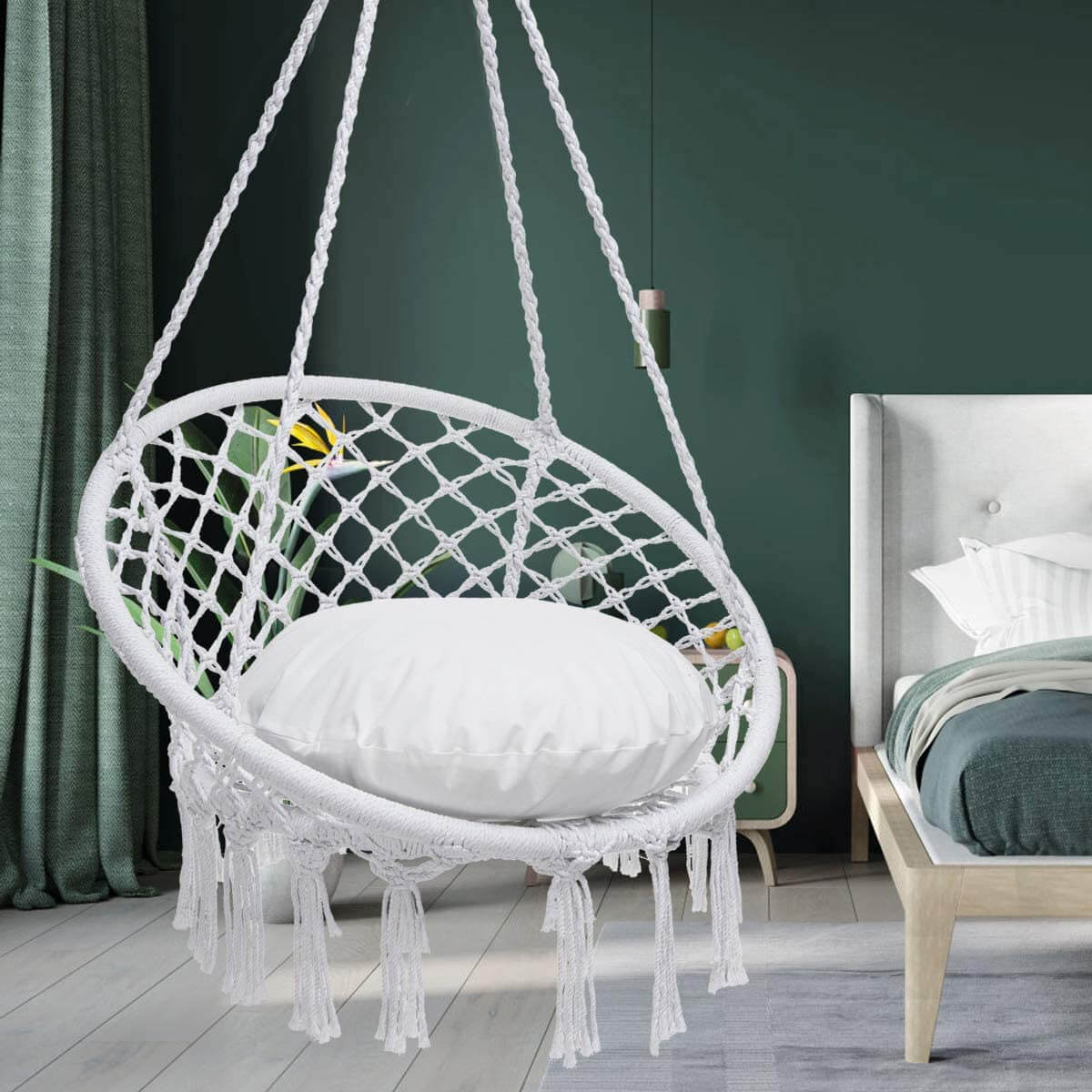 Hanging Macrame Hammock Swing Chair