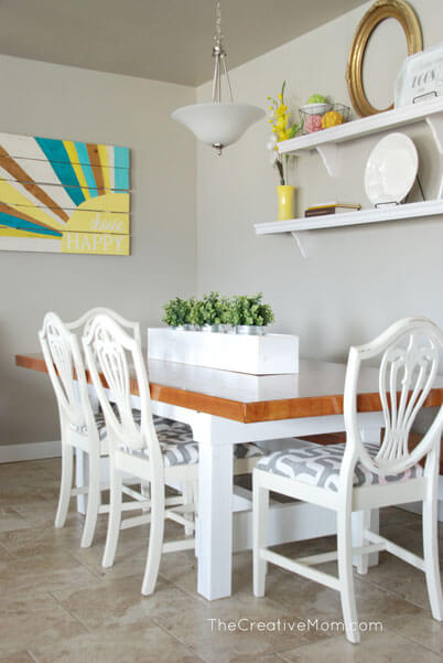 Glossy, Wooden, and White: Planter Box Centerpiece