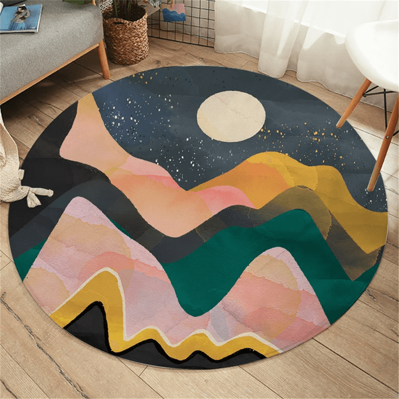 Abstract Night Sky Moon Area Rug