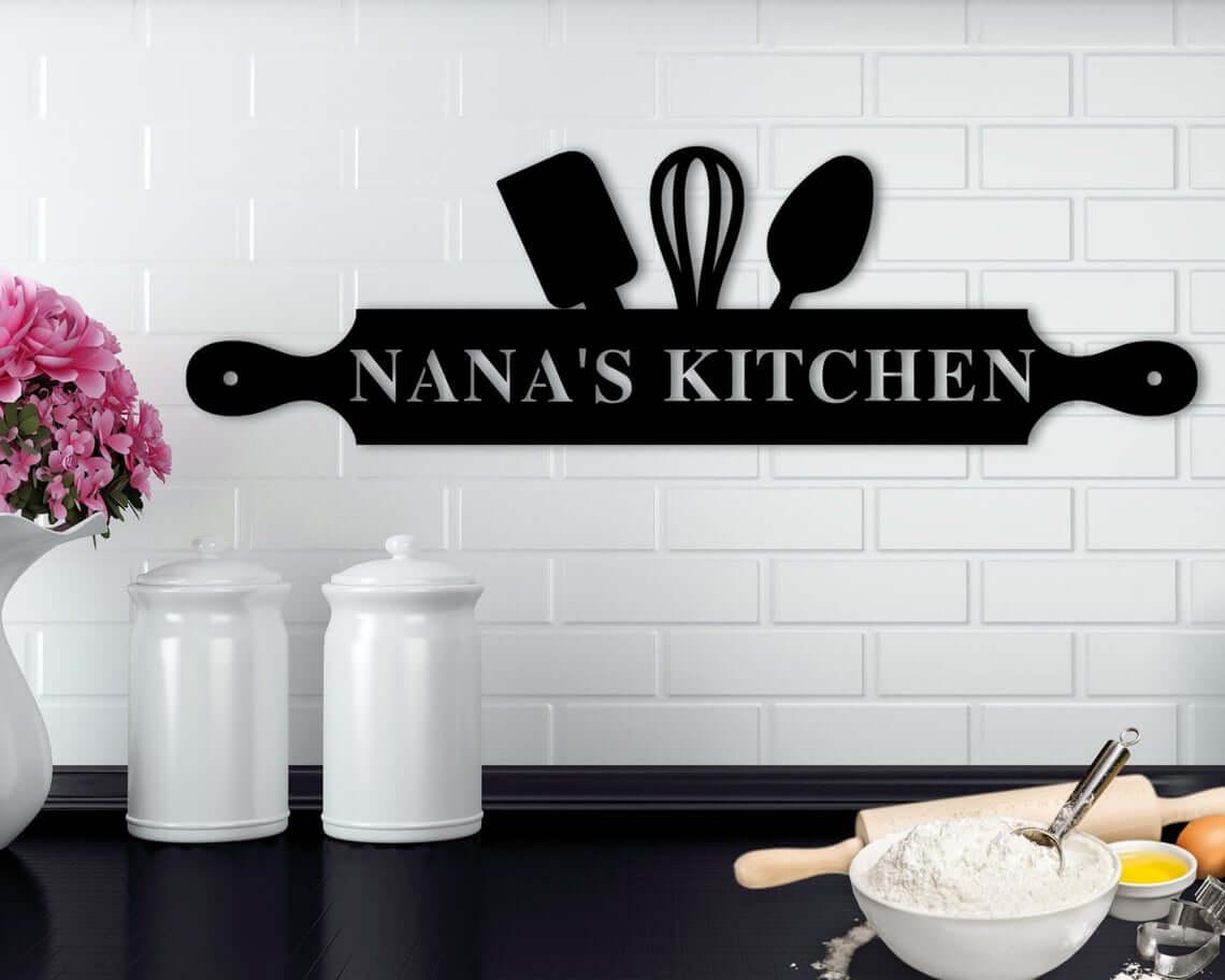 Modern Black Nana's Kitchen Wall Art
