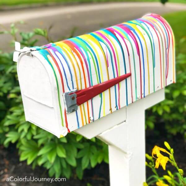 Stunning Rainbow Paint Pour Mailbox