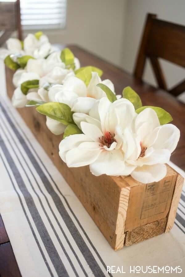 Long, Wooden Spring Magnolia Centerpiece