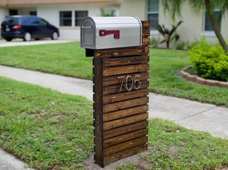 Rustic Wooden DIY Mailbox Post