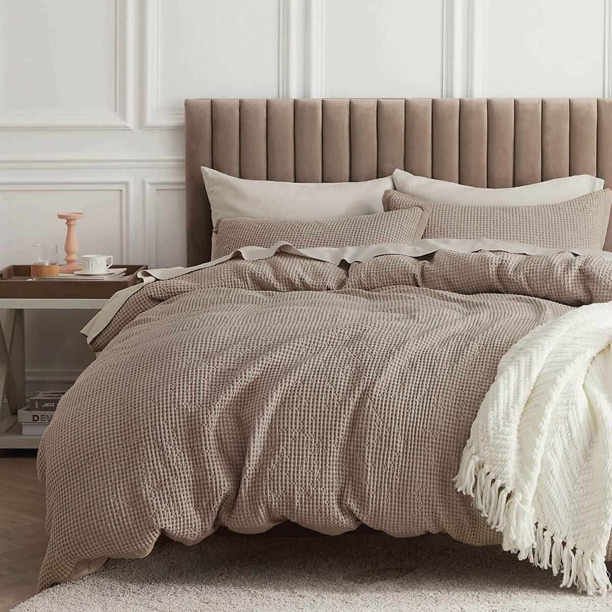 Wonderful Waffle Weave Cotton Duvet by Bedsure