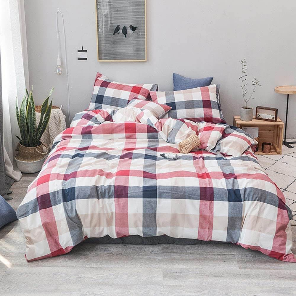 Washed Cotton Plaid or Solid Soft Duvet