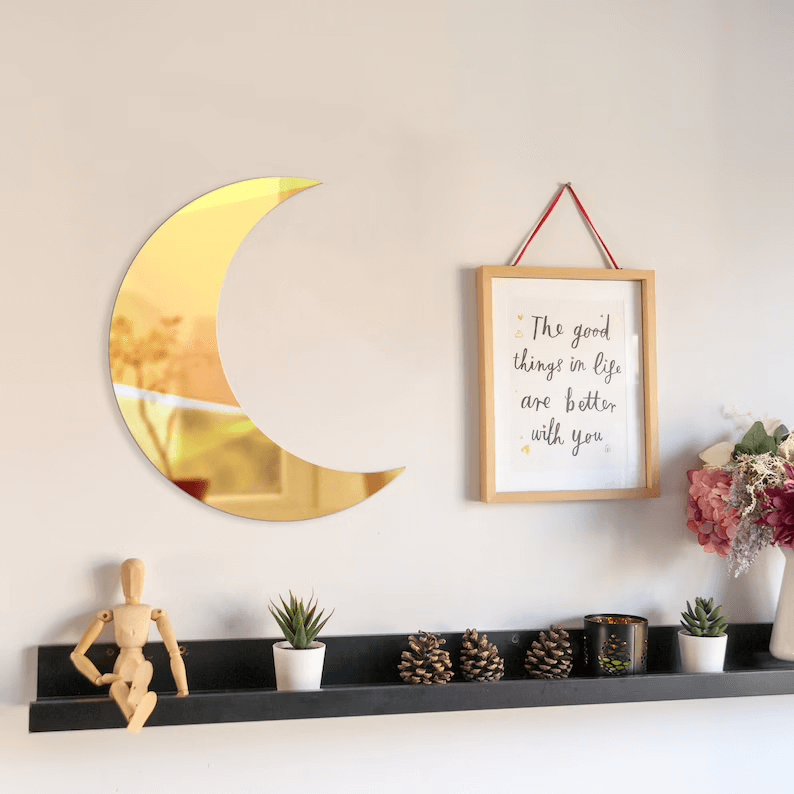 Shatterproof Crescent Moon Shape Mirror