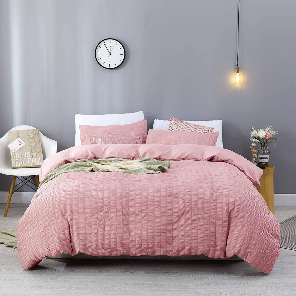 Luxurious Solid Striped Texture Duvet Bedding