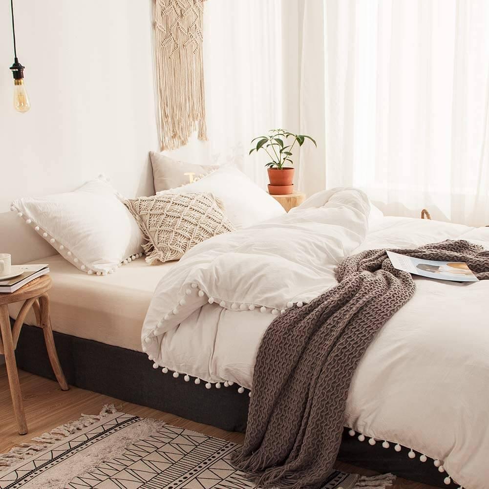 Pom Pom Fringe Solid Color Duvet Bedding