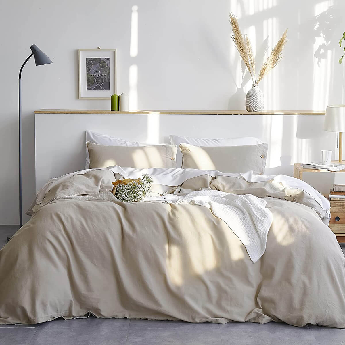 Bedsure Cotton and Linen Duvet Bedding Set