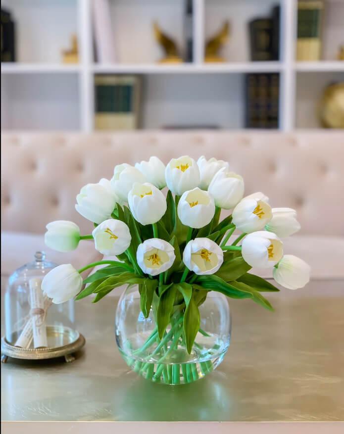Bursting Real Touch Tulip Centerpiece Arrangement