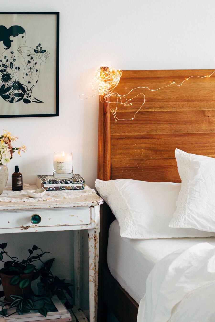Bed Headboard Fairy Lights Setup