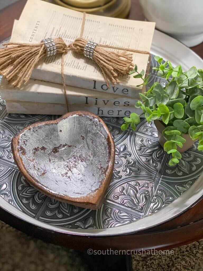 Simple Silver Painted Wooden Dough Bowl