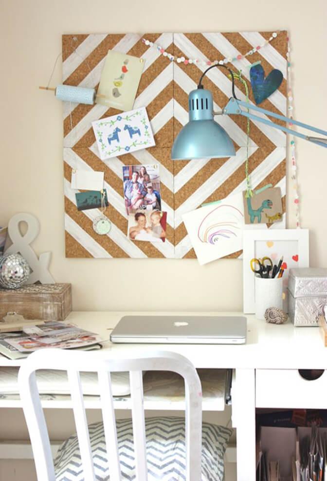 Spunky Cork Board with White Geometric Design
