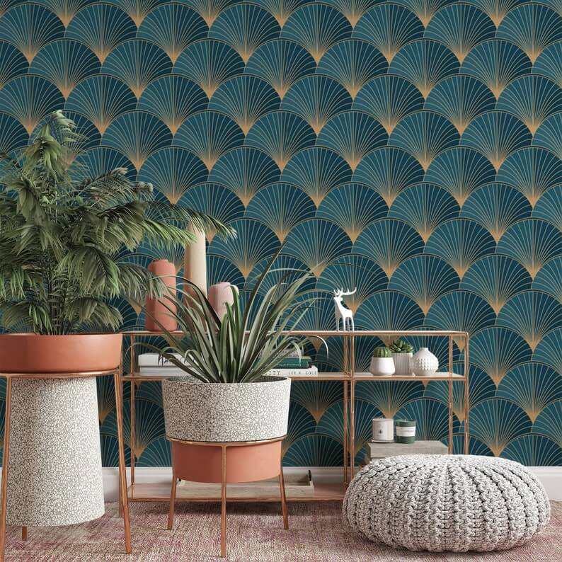 Teal and Gold Fan Peacock Pattern Wallpaper
