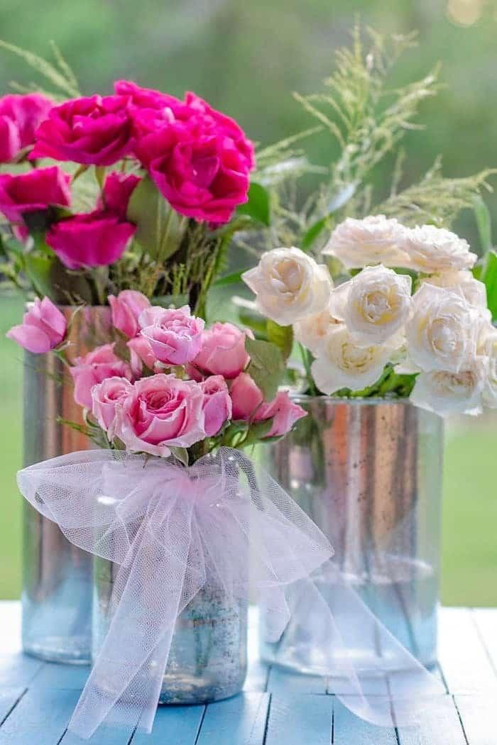 Faux Mercury Glass Flower Vase