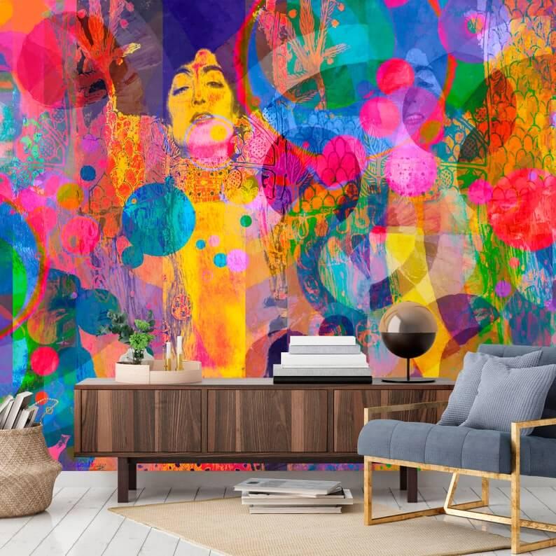 Bright and Bold Abstract Art Wall Mural