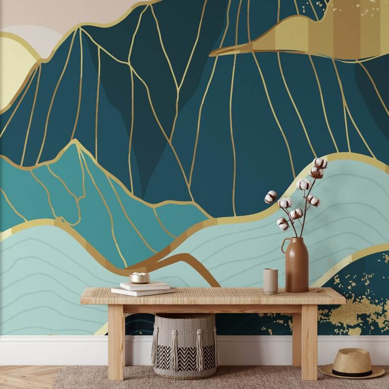 Gorgeous Landscape Abstract Blue and Gold Mountains