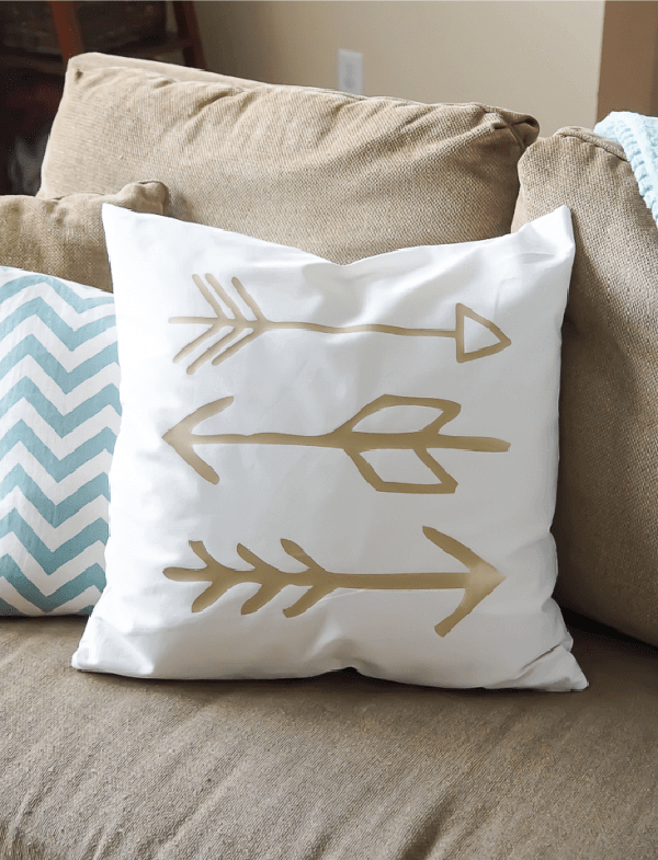 White Plush Gold Arrow Pillow Décor