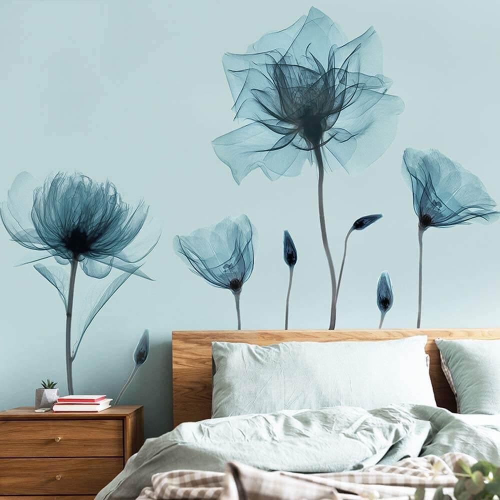 Sheer and Soft Blue Poppy Wallpaper Mural