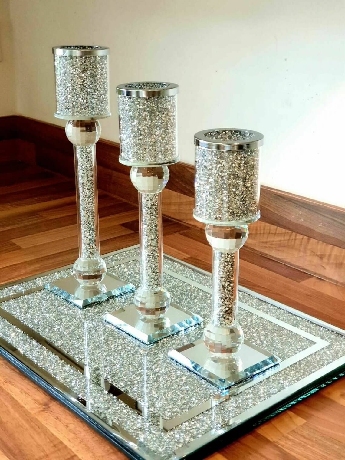 Tier Silver Crystal Filled Candle Holders