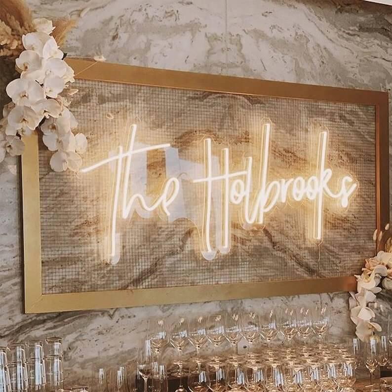 Wedding Reception Surname Neon Wall Art