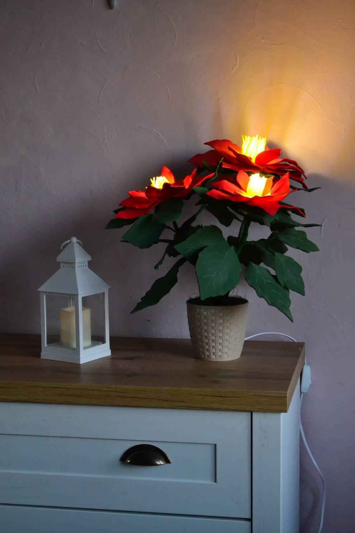 Poinsettia Decorative Floral Christmas Lights Lamp