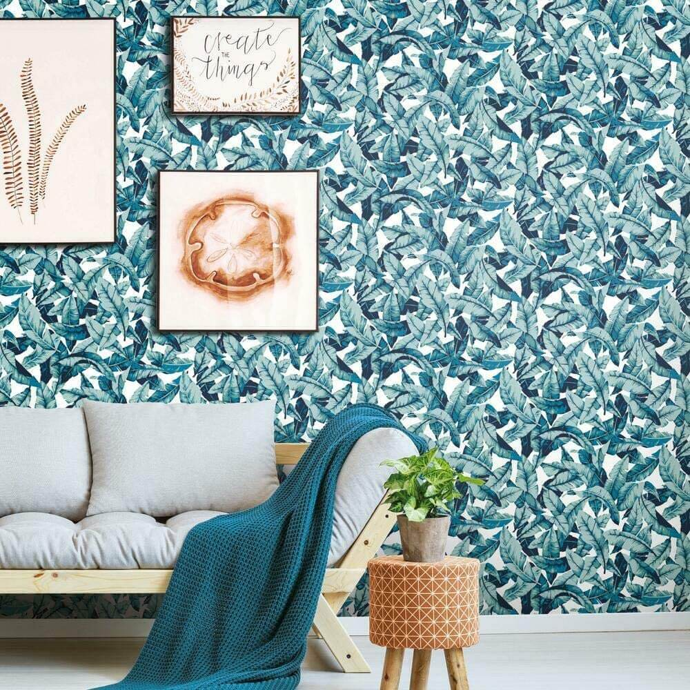 Pretty Teal Palm Branches Wall Mural