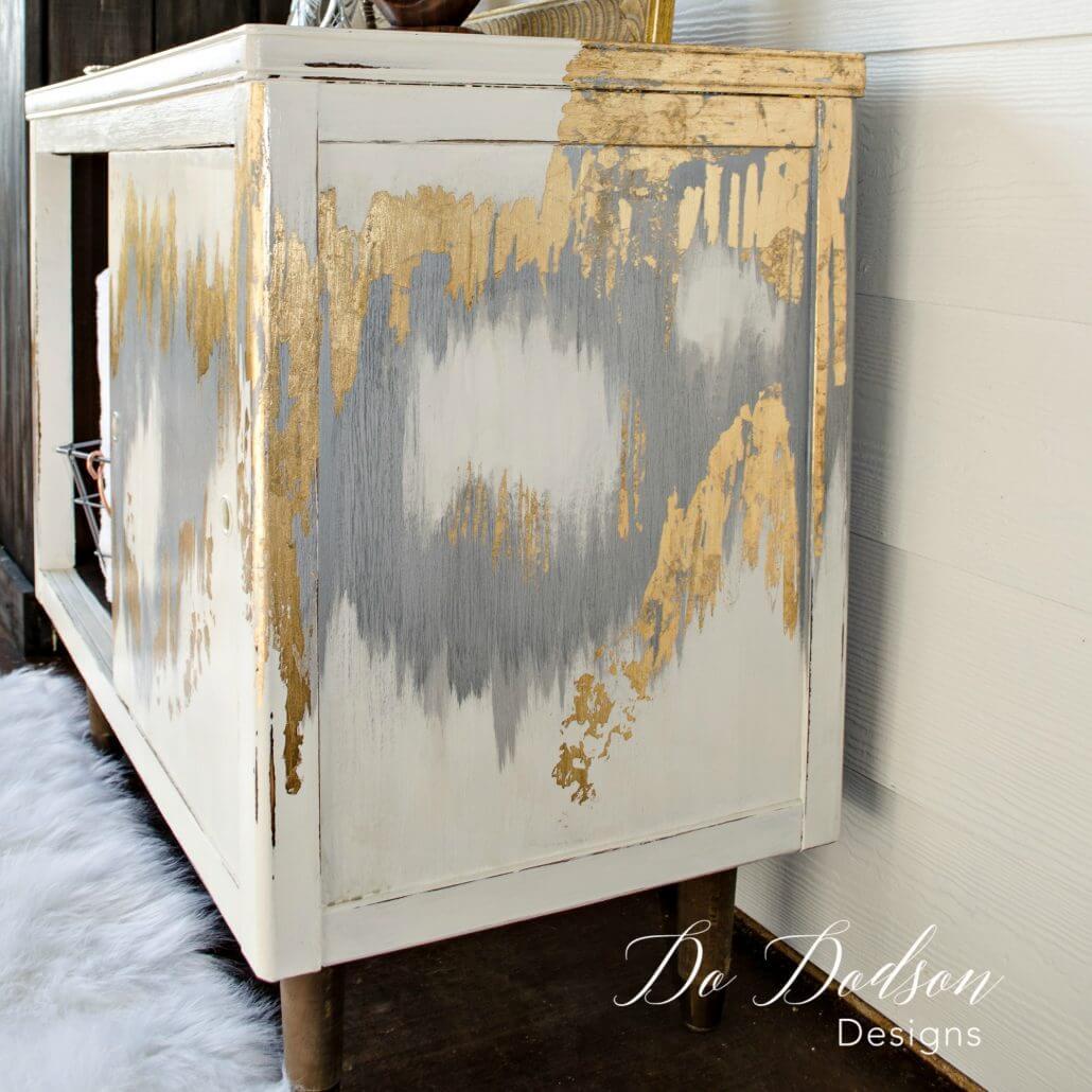 Homespun Gold Leaf Mid-Century Modern Cabinet