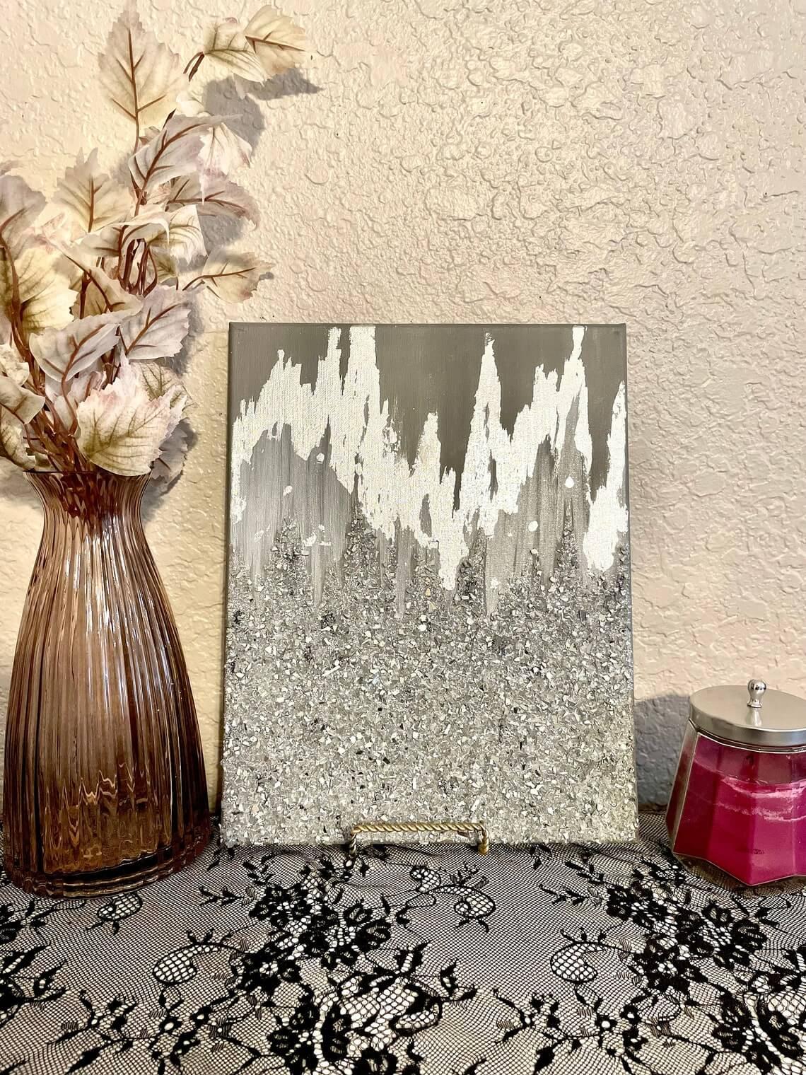 Silver 3D Glitter Painted Art Décor