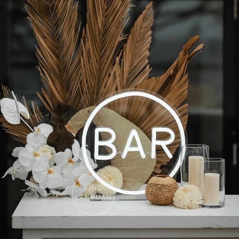 Handmade Coffee Bar Circle Neon Decor