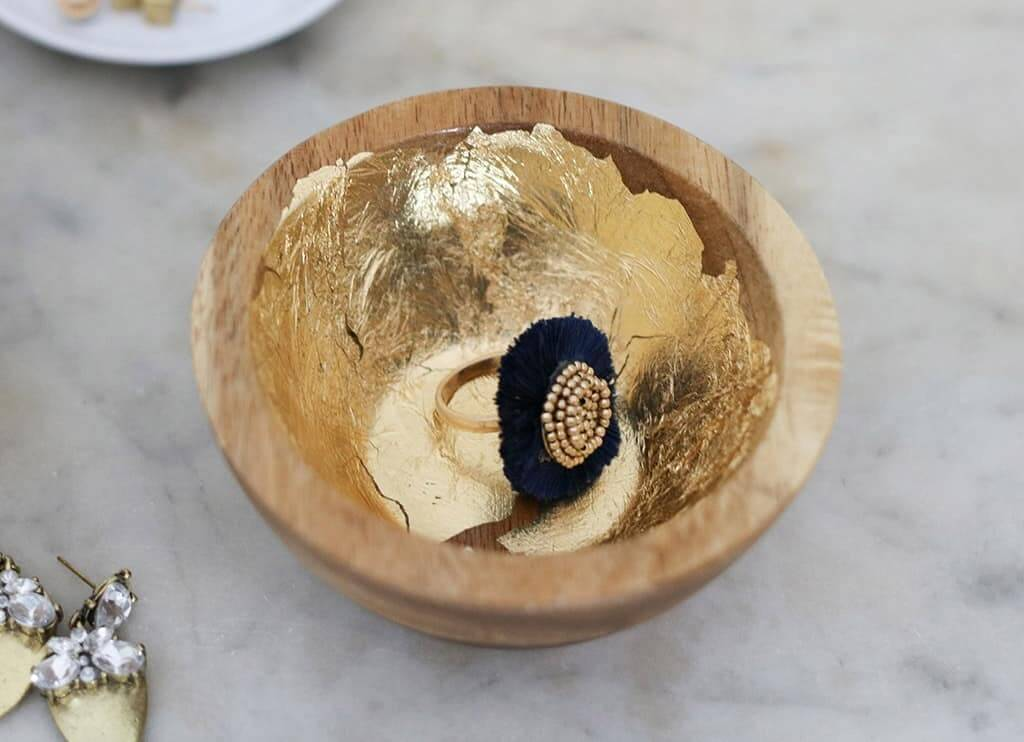 Rustic Wooden and Gold Jewelry Dishes