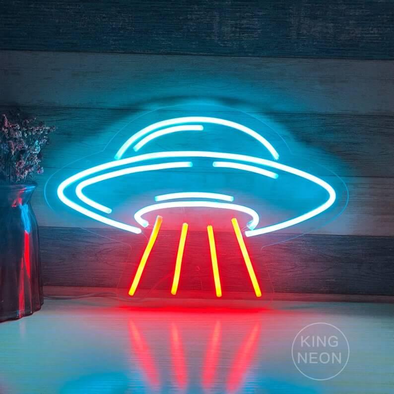 Unique Flying Saucer Neon Room Art