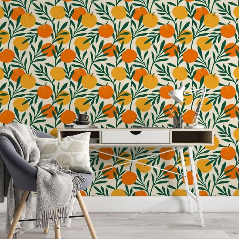 Botanical Fields of Citrus Wallpaper