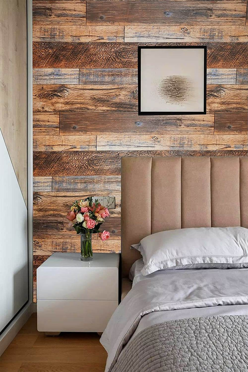 Rustic Faux Wood Peel and Stick Wall