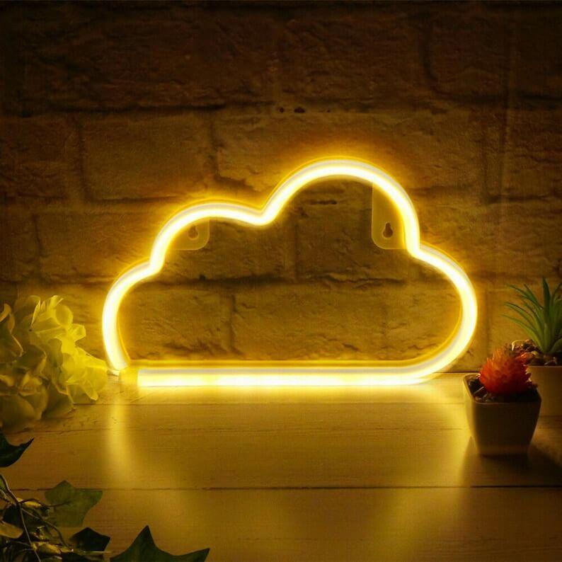 Bright White Cloud Neon Wall Art