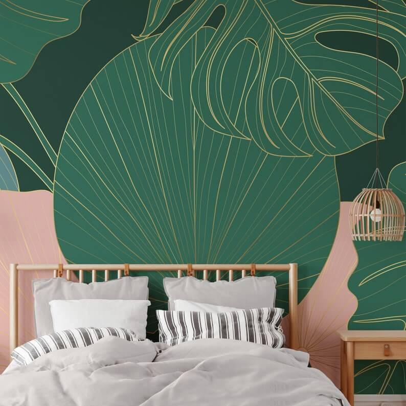 Large Monstrosa Plant Home Wallpaper