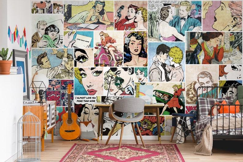 Colorful Comic Retro Wall Art Mural