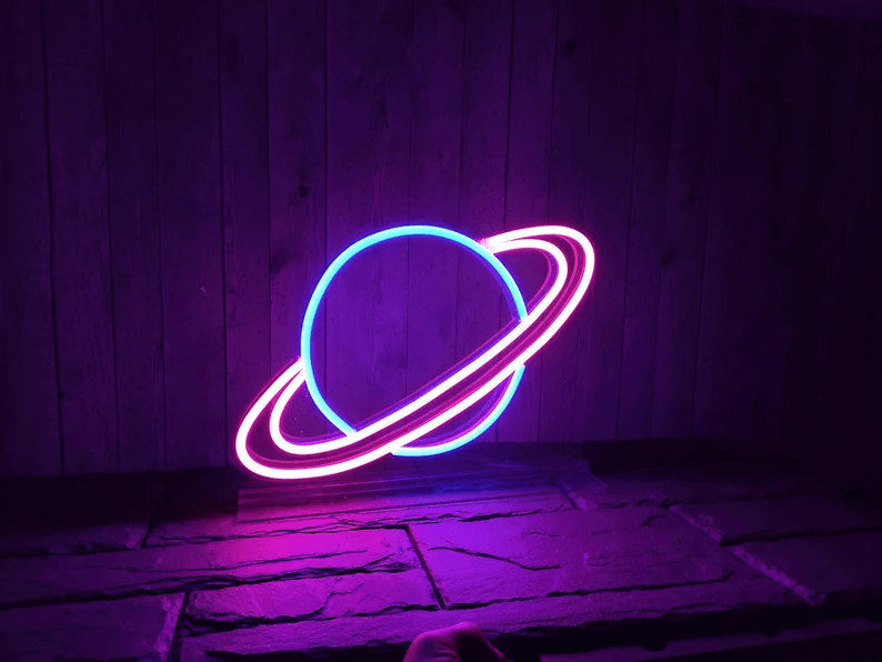 Planet Neon Sign Outer Space Bedroom Theme